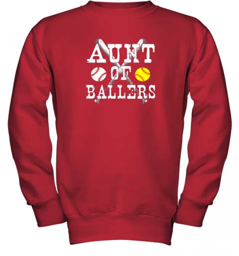 evrz vintage aunt of ballers shirt funny baseball softball love youth sweatshirt 47 front red