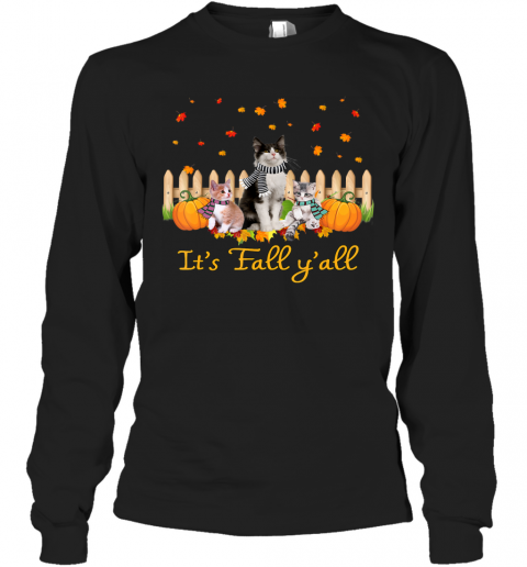 It's Fall Y'all Pumpkins Cat Halloween Costume Long Sleeve T-Shirt