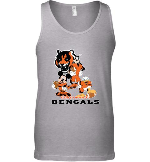 tzem mickey donald goofy the three cincinnati bengals football shirts unisex tank 17 front sport grey
