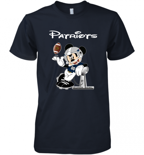 rqro mickey patriots taking the super bowl trophy football premium guys tee 5 front midnight navy