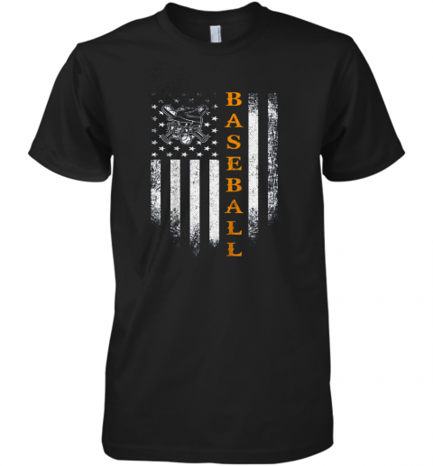 Vintage USA Baseball Distressed American Flag Patriotic Gift Premium Men's T-Shirt