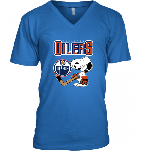 snat edmonton oilers ice hockey broken teeth snoopy nhl shirt v neck unisex 8 front royal