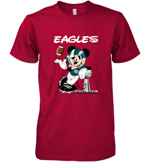 yz1k mickey eagles taking the super bowl trophy football premium guys tee 5 front red