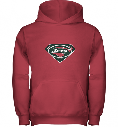 9ztr we are undefeatable the new york jets x superman nfl youth hoodie 43 front red