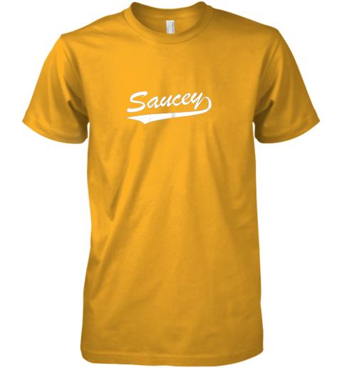 ui92 saucey swag baseball premium guys tee 5 front gold