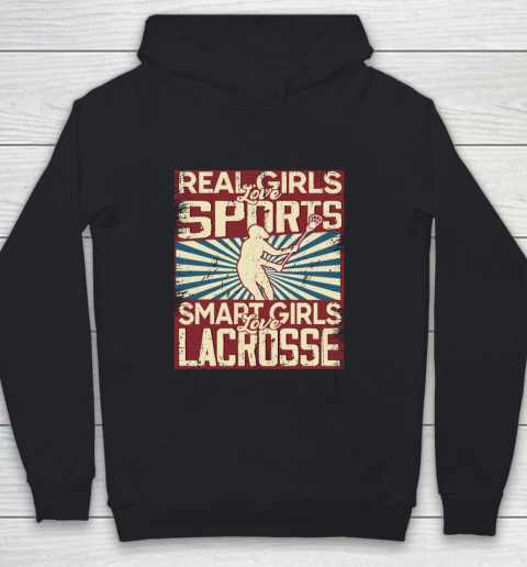 Real girls love sports smart girls love Lacrosse Youth Hoodie