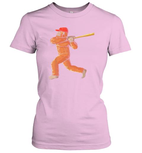 l055 bigfoot baseball sasquatch playing baseball player ladies t shirt 20 front light pink