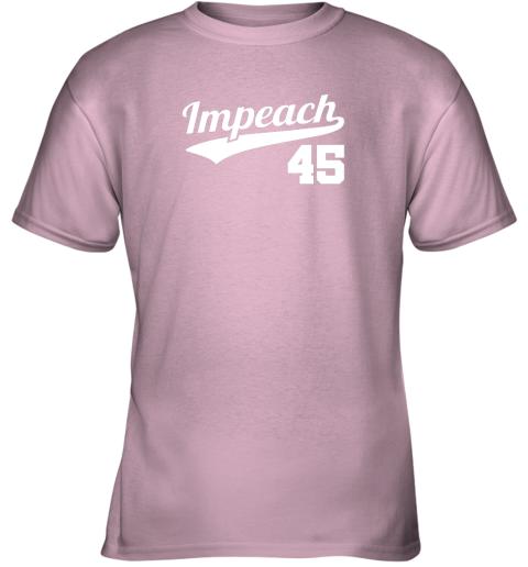 v46i impeach donald trump 45 baseball logo youth t shirt 26 front light pink