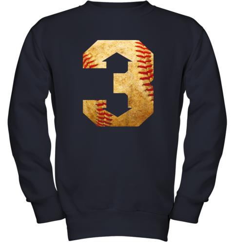 qrkl three up three down baseball 3 up 3 down youth sweatshirt 47 front navy