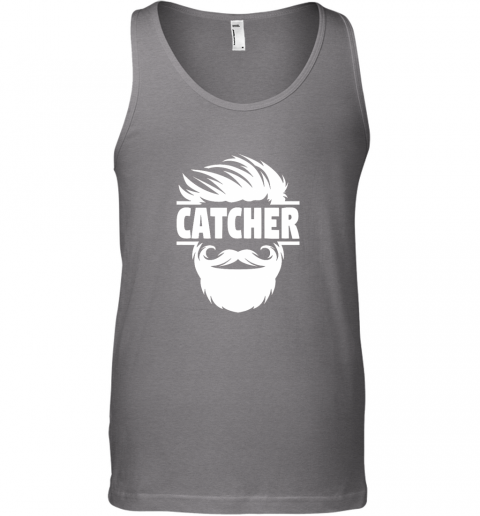 y8to bearded baseball catcher unisex tank 17 front graphite heather