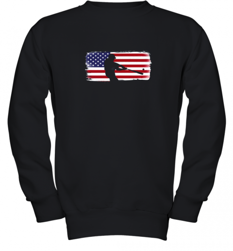USA American Flag Baseball Player Perfect Gift Youth Sweatshirt