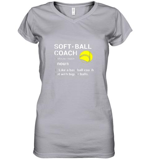 ywqb soft ball coach like baseball bigger balls softball women v neck t shirt 39 front sport grey