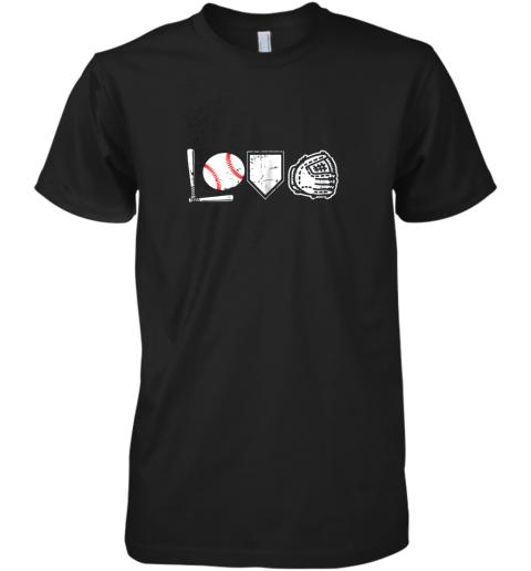 I Love Baseball Baseball Heart Premium Men's T-Shirt