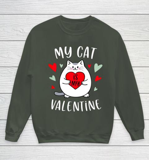 My Cat Is My Valentine Kitten Lover Heart Valentines Day Youth Sweatshirt 8
