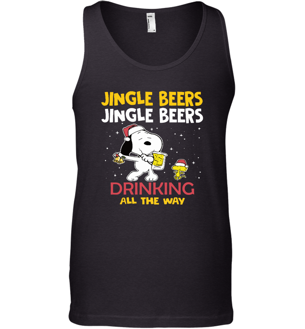 Jingle Beers Drinking All The Way Snoopy Tank Top
