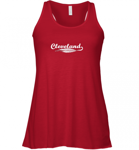 y4tx cleveland shirt native american feather baseball flowy tank 32 front red