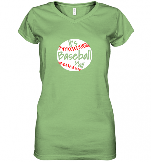 tzlp it39 s baseball y39 all shirt funny pitcher catcher mom dad gift women v neck t shirt 39 front lime