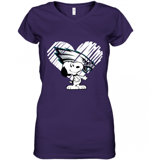 j0vp i love philadelphia eagles snoopy in my heart nfl women v neck t shirt 39 front purple