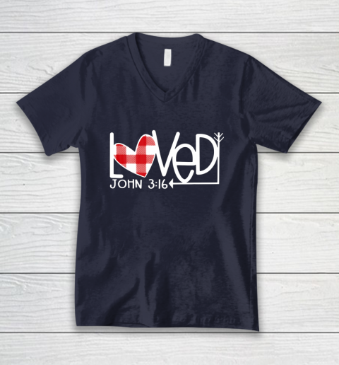 John 3 16 Loved Valentine Heart V-Neck T-Shirt 2