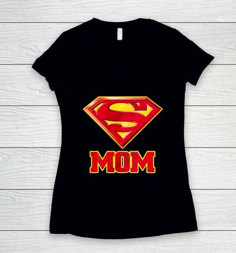 Super Mom Superman Logo Women's V-Neck T-Shirt