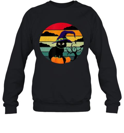 Vintage Scary Black Cat Witch Hat halloween Sweatshirt