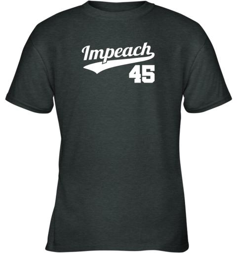 v46i impeach donald trump 45 baseball logo youth t shirt 26 front dark heather