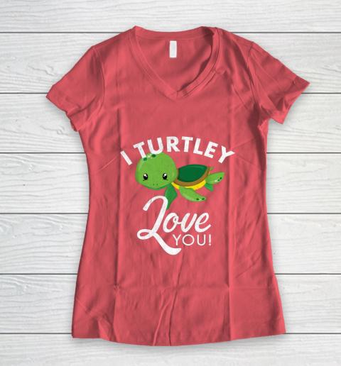 Cute Valentines Turtle I Turtley Love You Valentine Gift Women's V-Neck T-Shirt 4