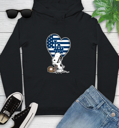 Los Angeles Dodgers MLB Baseball The Peanuts Movie Adorable Snoopy Youth Hoodie 2