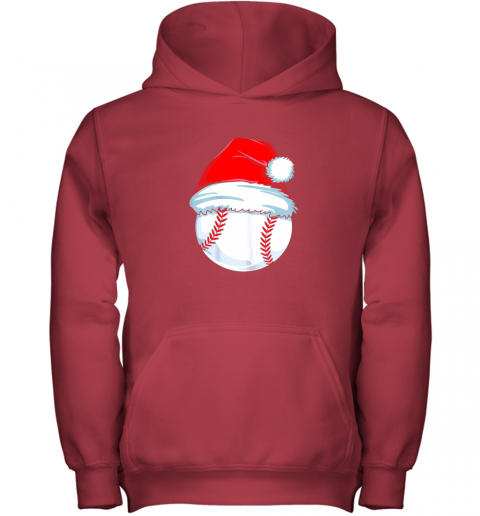 e3vp christmas baseball shirt for kids men ball santa pajama youth hoodie 43 front red