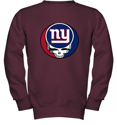 ql15 nfl team new york giants x grateful dead logo band youth sweatshirt 47 front maroon