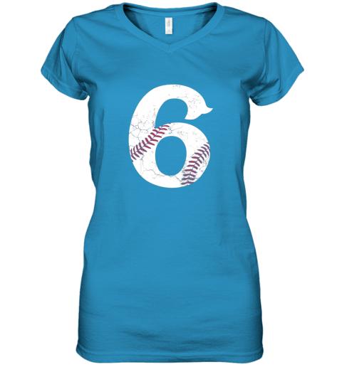 wli8 kids happy birthday 6th 6 year old baseball gift boys girls 2013 women v neck t shirt 39 front sapphire