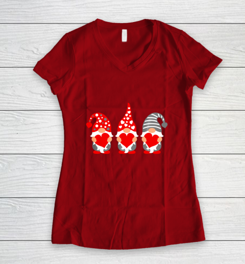 Gnomes Hearts Valentine Day Shirts For Couple Women's V-Neck T-Shirt 8