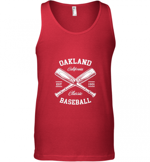 iszv oakland baseball classic vintage california retro fans gift unisex tank 17 front red