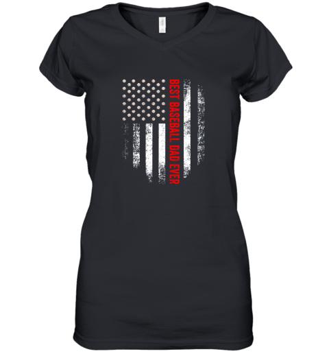 Vintage USA Best Baseball Dad Ever American Flag Daddy Gift Women's V-Neck T-Shirt