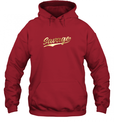 zkkx savage shirt retro 1970s baseball script font hoodie 23 front red