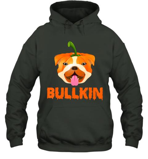 Bulldogkin Funny Bulldog Pumpkin Halloween Bulldog Lover Hoodie