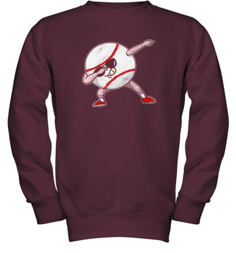 2pwu kids funny dabbing baseball player youth shirt cool gift boy youth sweatshirt 47 front maroon