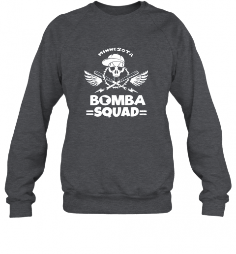 ryqb bomba squad twins shirt minnesota baseball men bomba squad sweatshirt 35 front dark heather