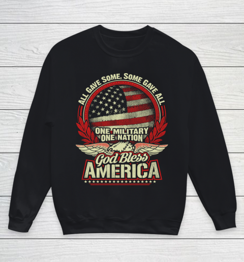 Veteran Shirt God Bless America Youth Sweatshirt 1