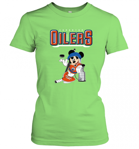 swbv mickey edmonton oilers with the stanley cup hockey nhl shirt ladies t shirt 20 front lime