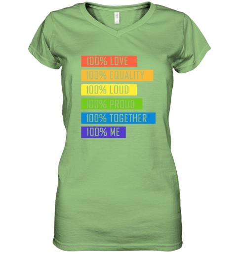 opom 100 love equality loud proud together 100 me lgbt women v neck t shirt 39 front lime