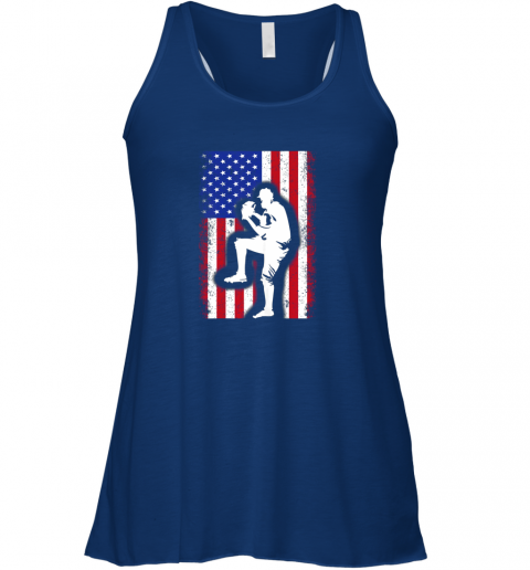 s1ml vintage usa american flag baseball player team gift flowy tank 32 front true royal