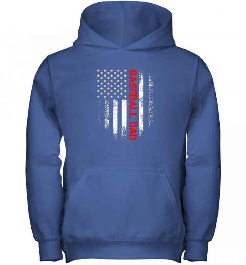 rm5n vintage usa american flag proud baseball dad player youth hoodie 43 front royal