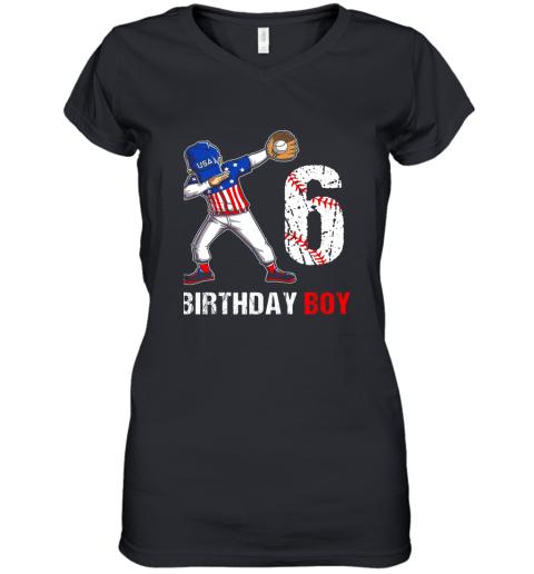 Kids 6 Years Old 6th Birthday Baseball Dabbing Shirt Gift Party Women's V-Neck T-Shirt