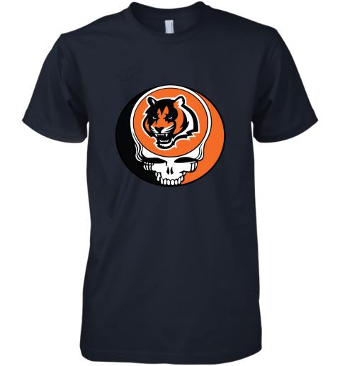 tz3i nfl team cincinnati bengals x grateful dead logo band premium guys tee 5 front midnight navy