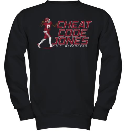 Cheat Code Jones Dc Defenders Football Youth Sweatshirt