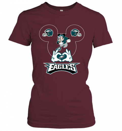 jhmm i love the eagles mickey mouse philadelphia eagles ladies t shirt 20 front maroon