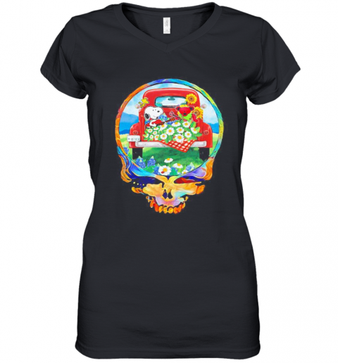 Grateful Dead Snoopy And Bear Playing Guitar On Car Flowers Women's V-Neck T-Shirt
