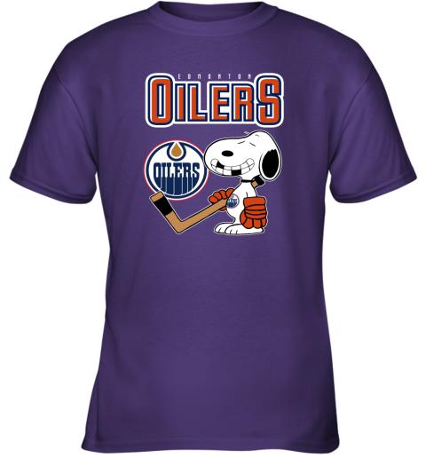 qyzy edmonton oilers ice hockey broken teeth snoopy nhl shirt youth t shirt 26 front purple