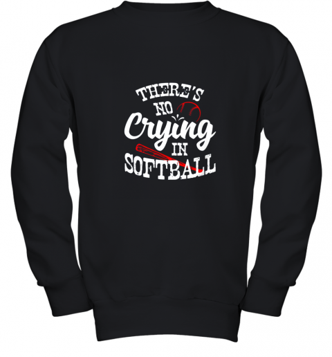 Theres No Crying in Softball Game Sports Baseball Lover Youth Sweatshirt
